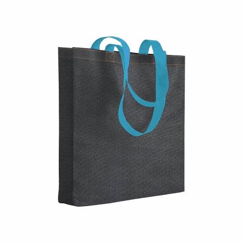 Shopper in TNT stampato con effetto jeans